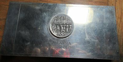 EXXON Royal Pewter box gift from Board of Directors Meeting Malaysia 1981