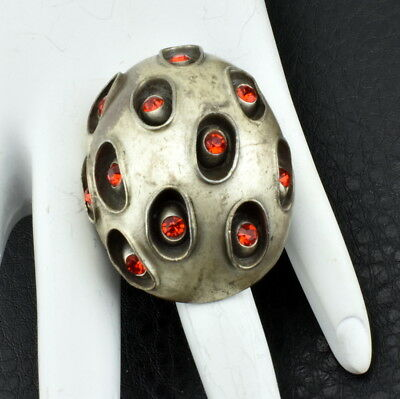 Massive Bold Textured Cast Dome Inlaid Red Glass Stone Fashion ring