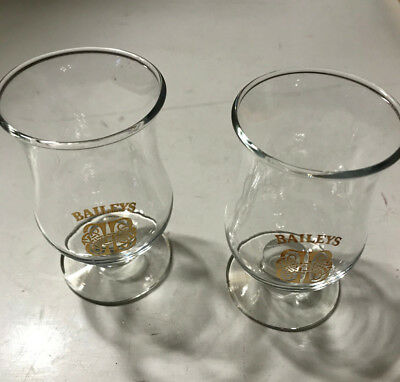 Set of 2 Baileys Original Irish Cream Two Glasses Celtic Cordial Shot Gold Logo