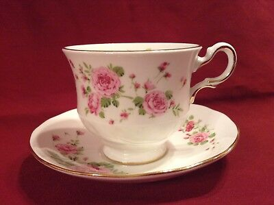 Vintage Fine Bone China Cup & Saucer Pink Roses Made In England Avon 1974