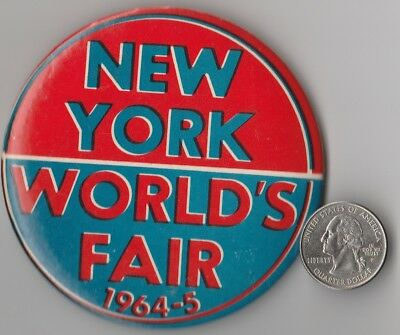 """Vintage 1964-1965 """"new York World's Fair"""" Pin Back Button Large Hard To Find"""