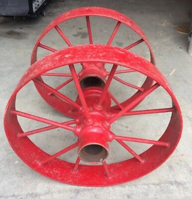 """Antique Cast Iron Spoked Fire Carriage Cart Wagon Tractor Implement Wheels 24"""""""
