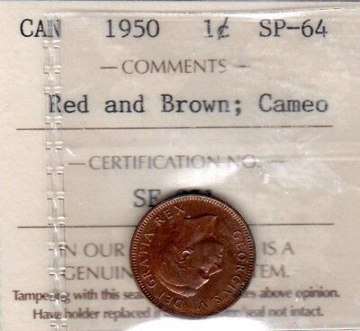 CANADA 1950 SPECIMEN CENT, ICCS SP-64 RED and BROWN, CAMEO