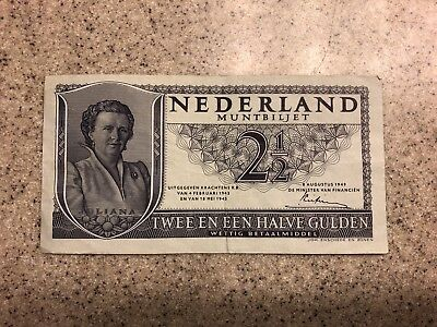 1949 Netherlands 2 1/2 Gulden Note