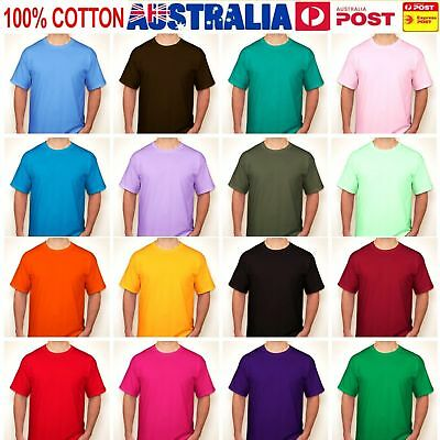 Mens Plain 100% Cotton T-shirt Blank Basic Adults Tee