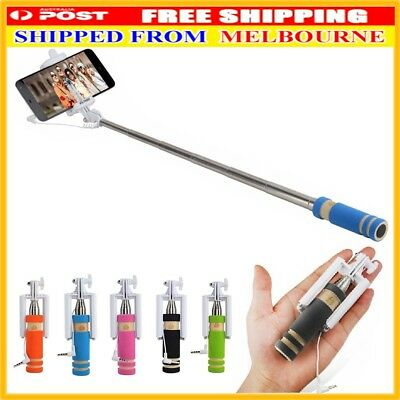 AU NEW Mini Cellphone Selfie Stick Portable Handheld Wired Remote Extendable Mon