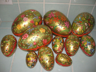 Lot 11 Vintage W. Germany Easter Egg Candy Containers Nested Unused Paper Mache