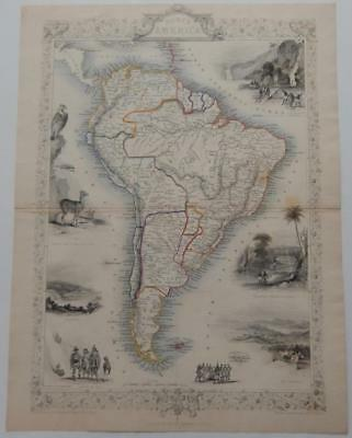 c1851 Original Antique South America Map London Tallis Rapkin Rare Illustrated