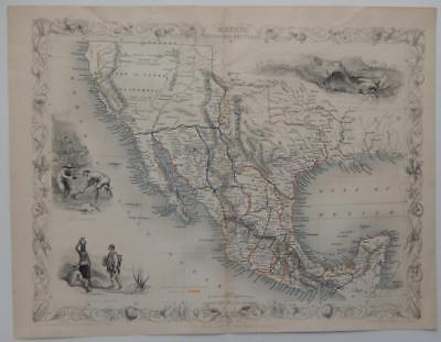c1851 Original Antique Mexico California Texas Map London Tallis Rapkin Rare