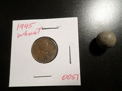 1945 PENNY PLUS Civil War Lead  Musket Ball Found In Early County