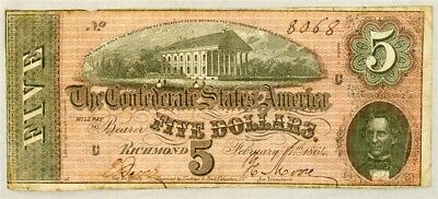 1864 Confederate States $5 Note T-69 Civil War Currency Serial #8068 - VF+