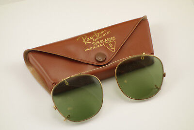 Vintage Bausch & Lomb Ray Ban Clip On Sunglasses w Case B&L 48 Green