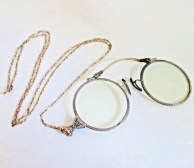 Antique c1917 14K White Gold Pince Nez Lorgnette Glasses w/Gold Filled Chain