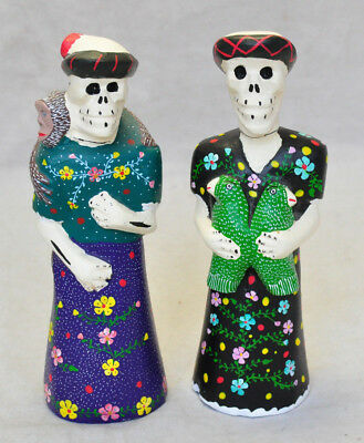 2 VTG Oaxaca Mexican Folk Art Carved Painted Wood Catrina Skeletons Day of Dead