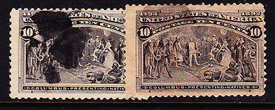 U.S. STAMPS/COLOR VARIETY: Sc#237-10c Columbian Exhibition-one brown, one black