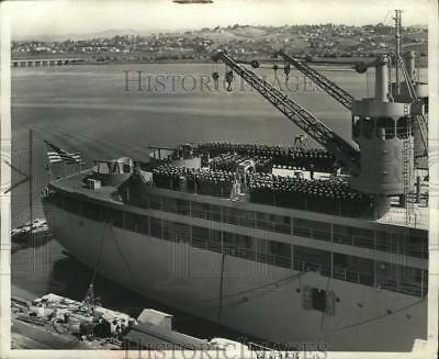1941 Press Photo Mare Island Navy Yard as USS Fulton is commissioned - nem58705