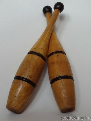 Nice Pair of Antique Wooden Exercise, Juggling, Swinging, Indian Clubs Wood Club