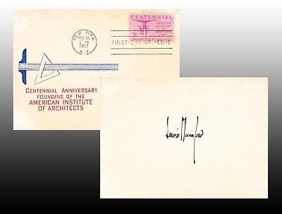 LEWIS MUMFORD. Signature on verso of American Institute of ARCHITECTS FDC card