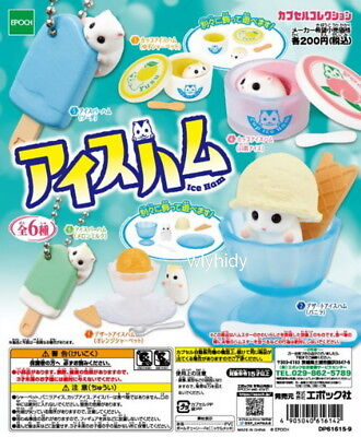 Miniatures Hamsters Ice Figure 6pcs  + Display Card  - Epoch Capsule Toy  ,  h#4