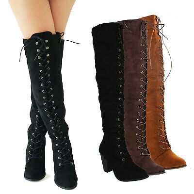 f7b01e82d4b1 Women Chunky Over The Knee High Riding Boots Lace up Corset Thigh High  Combat