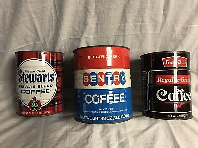 3 Vintage Coffee Cans Sentry , Stewarts and Food Club
