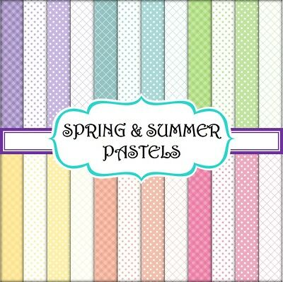 SPRING & SUMMER PASTELS SCRAPBOOK PAPER - 24 x A4 pages