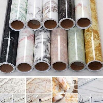 AU 2M Wall Paper Rolls Marble Vinyl Adhesive Home Wallpaper Decal Waterproof
