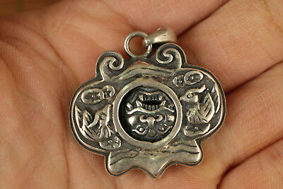 Chinese Old Sterling Silver 925 Hand-Carved longevity lock Statue Pendant