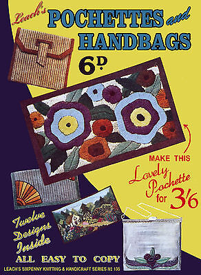 Leach's #135 c.1935  Vintage Patterns to Make Wallets & Handbags in Needlepoint