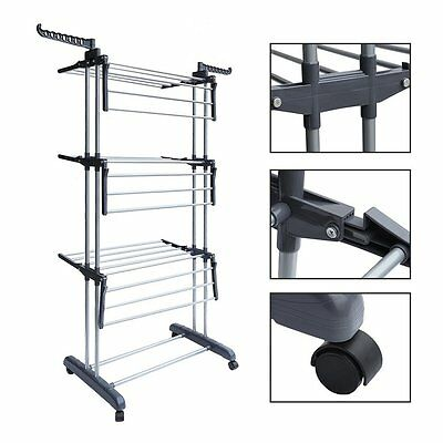 Rolling Collapsible Clothes Drying Rack 3-tier Folding Laundry Dryer Hanger OY