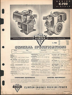 Oct 1954 Clinton Engines C-700 4 Cycle Specifications & Parts Manual
