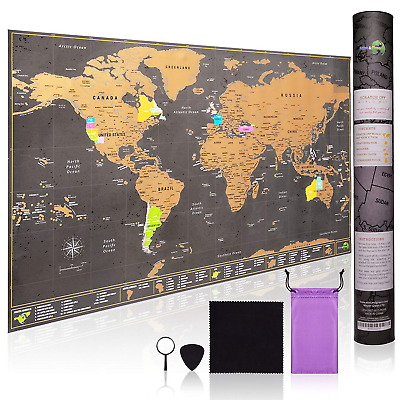 Scratch Off World Map Large - Ultra detailed with all U.S States -...