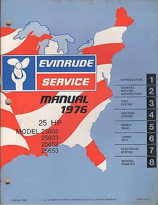 1976 Evinrude Outboard Motor  25 Hp Service Manual