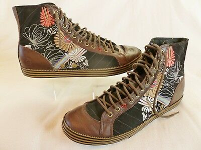 """PAUL SMITH Size 10 Black Embroidered """"Dude"""" High Top  Canvas & Leather Trainers"""