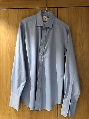 """TM Lewin Men's Shirt - Fitted - 16"""" Collar - 35"""" Sleeves - Double Cuff - Blue"""