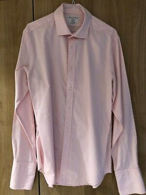 """TM Lewin Men's Shirt - Fitted - 16"""" Collar - 35"""" Sleeves - Double Cuff - Pink"""