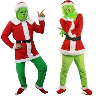 UK Adult Santa Grinch Mask Cosplay Costume How the Grinch Stole Christmas Outfit