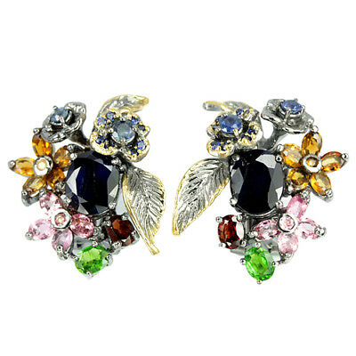 Genuine Sapphire Chrome Diopside Tourmaline Sterling 925 Silver Flower Earring
