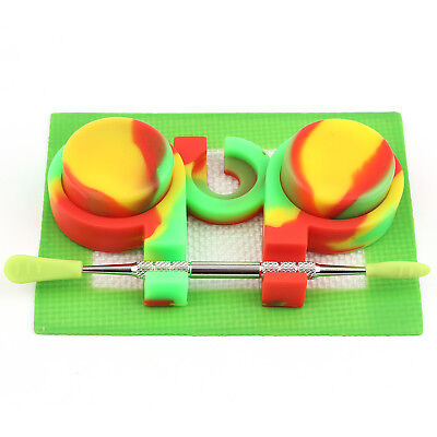 3ml Containers Jar + Non Stick Mat + Stainless Dabber Tool Silicone Dab Kit Set
