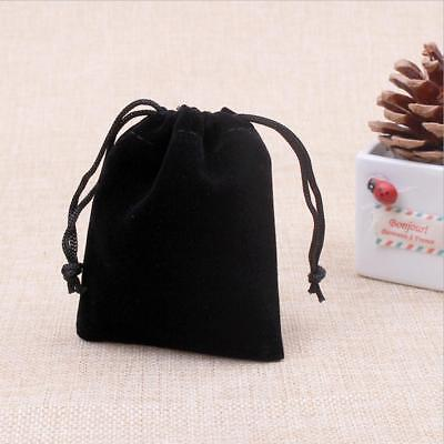 Drawstring Jewelry Cloth Bag Earrings Necklace Storage Packet Organizer Black
