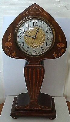 Vintage Superb 1920's Art Nouveau Mahogany And Inlaid Cased 8 Day Mantle Clock