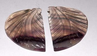 Fluorite Carving Pair 100% Natural Gemstone 25.90 cts 25 x 18 mm #ffc53