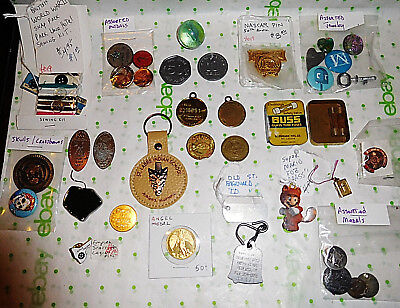 38 LOT Vtg Collection Token Medal Fob Pin Tag Key Marble WW2 Sewing Kit Jewelry