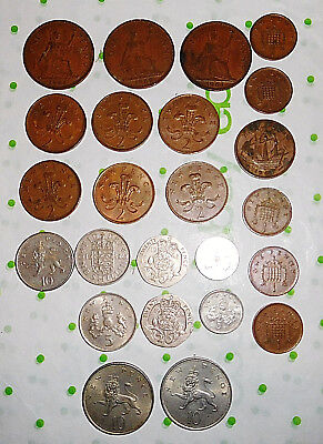 24 LOT Coin Collection UK British Large Pence Half Penny Shilling 2 5 10 20