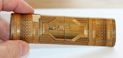 C1820 Italy Straw Work Spectacles Case Etui, 5 In Long , Sturdy Treen Item