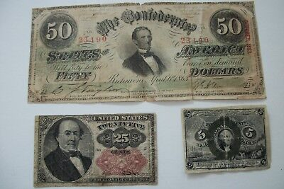 U.S. Fractional Currency: 1874 25 Cent, 1863 5 Cent, Plus Confederate $50 Bill