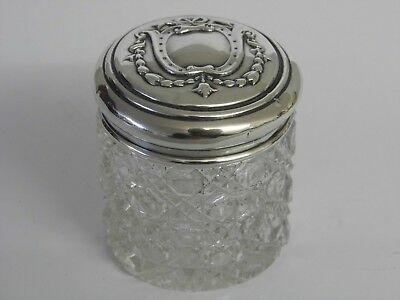 Antique Solid Silver Topped Hobnail Cut Glass Vanity Dressing Table Jar Bottle