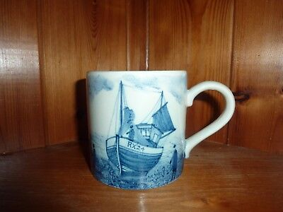 Very Nice Iden Pottery Rye Sussex Mug Fishing Boats Scene Blue & White Perfect