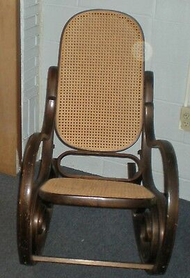 Antique Bentwood Cane Seat & Back Rocking Chair