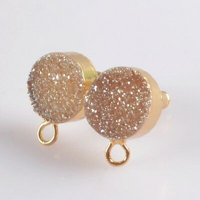 10mm Natural Agate Titanium Druzy Stud Post Loop Earrings Gold Plated T071636